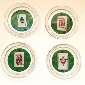 French Luminarc Playing Card Coasters Set of 4